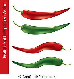 Realistic hot chili pepper. Illustration vector.