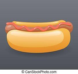 Realistic Hotdog Fast Food Icon Retro Cartoon Symbol Template Vector Illustration