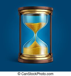 Realistic hourglass, sand clock timer vector illustration