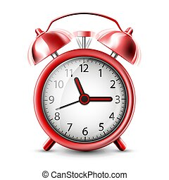 Realistic Icon ringing alarm clock. Isolated on white background