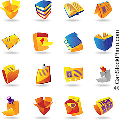 Realistic icons set for books and papers