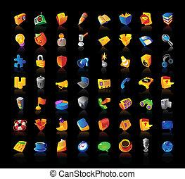 Realistic icons set on black background