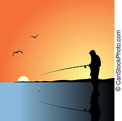 Realistic illustration fishing on lake at a dawn. Vector