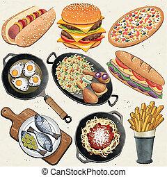 Realistic illustration food - Retro, vintage style Chicken...