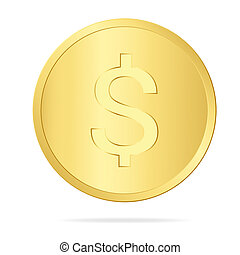 Realistic illustration of a gold coin with a dollar sign, isolated on white background