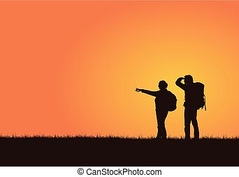 Realistic illustration of a silhouette of a pair of tourists with backpacks, men and women on a walk. A woman shows her hand, a man looks. Isolated on an orange background, vector