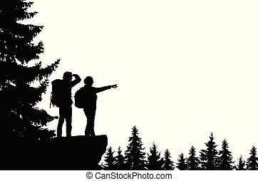 Realistic illustration of a silhouette of two tourists, men and women with backpacks. It stands on the bay in the mountains and looks into the valley of the forest - Vector