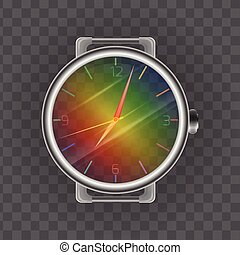 Realistic illustration of a wristwatch. Rainbow transparent clock face. Vector element for your design