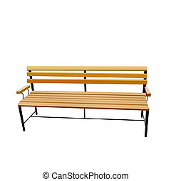 Realistic illustration of bench is isolated on white  background. Vector