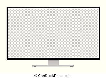 Realistic illustration of black computer monitor with silver stand and blank transparent isolated screen with space for your text or image - isolated on white background