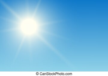 Realistic illustration of blue sky with sun and sunshine, vector