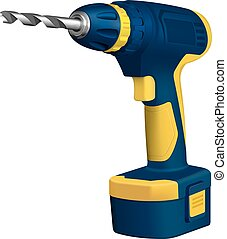Realistic illustration of cordless drill