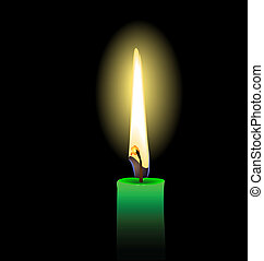 Realistic illustration of green candle - vector - Realistic...