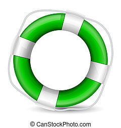 realistic illustration of green life buoy