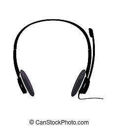 Realistic illustration of headset isolated on white ...