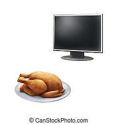 Realistic illustration of high definition TV screen, Roast Chicken on a plate  isolated on white background