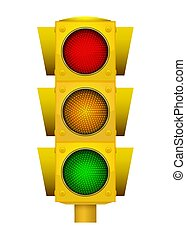 Realistic illustration of modern yellow led traffic light with switching on green, yellow and red lights.