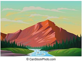 Realistic illustration of mountain landscape.