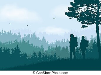 Realistic illustration of mountain landscape with coniferous forest and hills under clear blue and green sky with white clouds. Two hikers, man and woman with backpacks standing and looking into valley, vector