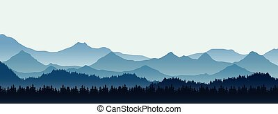 Realistic illustration of mountain landscape with hill and forest with coniferous trees, under blue winter sky with space for text, vector