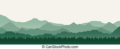 Realistic illustration of mountain landscape with hill and forest with coniferous trees, under green spring sky with space for text