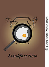 Realistic illustration of pan with fried egg and hand drawn alarm clock on light brown background. The inscription Breakfast time