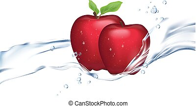 Realistic illustration of red apple isolated on white background. Flowing water