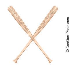 Realistic illustration of two baseball bat