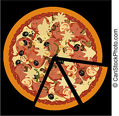 Realistic illustration pizza on black  background