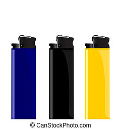 Realistic illustration three colored lighter