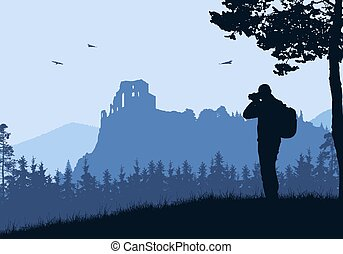 Realistic illustration with silhouette of old castle ruins in mountain landscape with forest. Tourist with backpack takes pictures by camera. Blue sky with birds.
