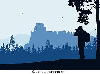 Realistic illustration with silhouette of old castle ruins in mountain landscape with forest. Tourist with backpack takes pictures by camera. Blue sky with birds - Vector