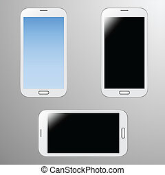 Illustrations of a white smartphone