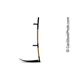 Realistic illustraton the hand mower or scythe