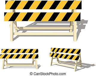 Realistic image of a road barrier with yellow stripes on a white background. Isolated object, road safety sign. Vector illustration