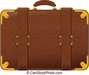 brown suitcase - Realistic image old fashioned brown...