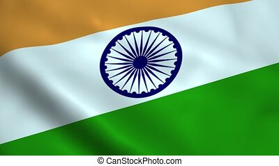 Realistic India flag waving in the wind. Seamless looping.