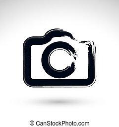 Realistic ink hand drawn vector digital camera icon, simple hand