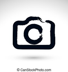 Realistic ink hand drawn vector digital camera icon, simple hand