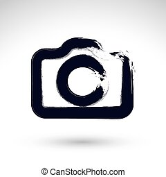 Realistic ink hand drawn vector digital camera icon, simple hand-painted camera symbol, isolated on white background.