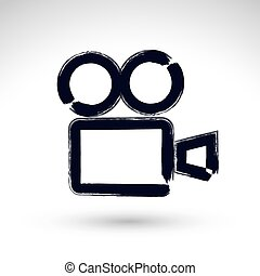 Realistic ink hand drawn vector video camera icon, simple hand-painted camera symbol, isolated on white background.