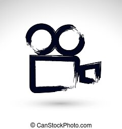 Realistic ink hand drawn vector video camera icon, simple hand-p