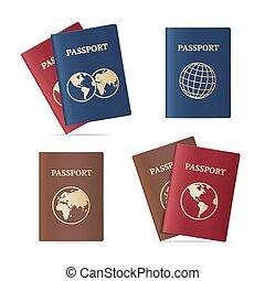 Realistic International Passport Set. Vector - Realistic...