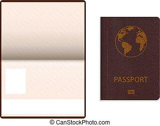 realistic international passport.