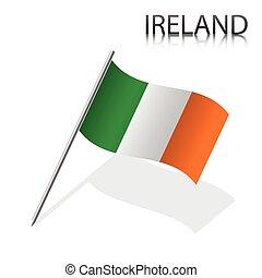 Realistic Irish flag, vector illustration