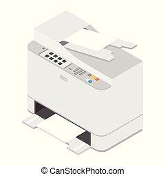 Realistic isometric printer. Print high quality photo paper