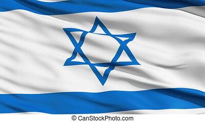 Realistic 3d seamless looping Israel flag waving in the wind.