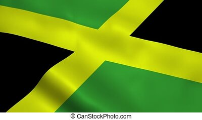 Realistic Jamaica flag waving in the wind. Seamless looping.