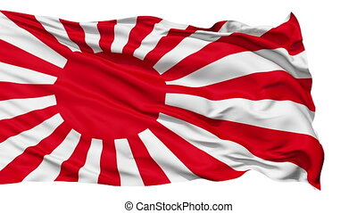 Realistic 3D detailed slow motion japan flag in the wind - seamless looping (isolated on white background)