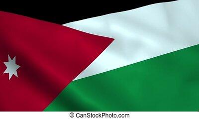 Realistic Jordan flag waving in the wind. Seamless looping.